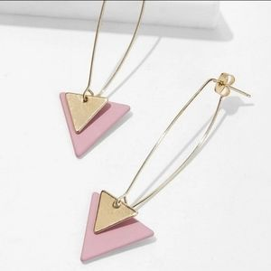 Double Triangle Pink/Gold Earrings.